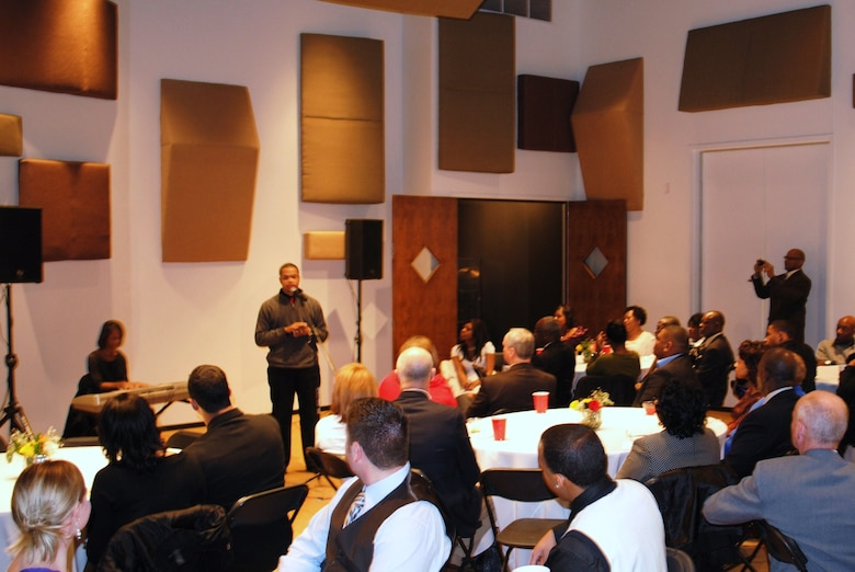 Members of the 164th Airlift Wing enjoy a performance while celebrating their annual African-American HIstory Celebration held at the Stax Museum in Memphis, TN.