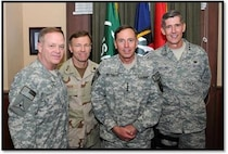 L-R: Major General Clyde J. Tate II, the Deputy Judge Advocate General for the Army; Vice Admiral James W. Houck, The Judge Advocate General for the Navy; General David H. Petraeus, Commander of International Security Assistance Force & Commander of U.S. Forces Afghanistan; and Lieutenant General Richard C. Harding, The Judge Advocate General for the Air Force pose together during a recent visit to Afghanistan.