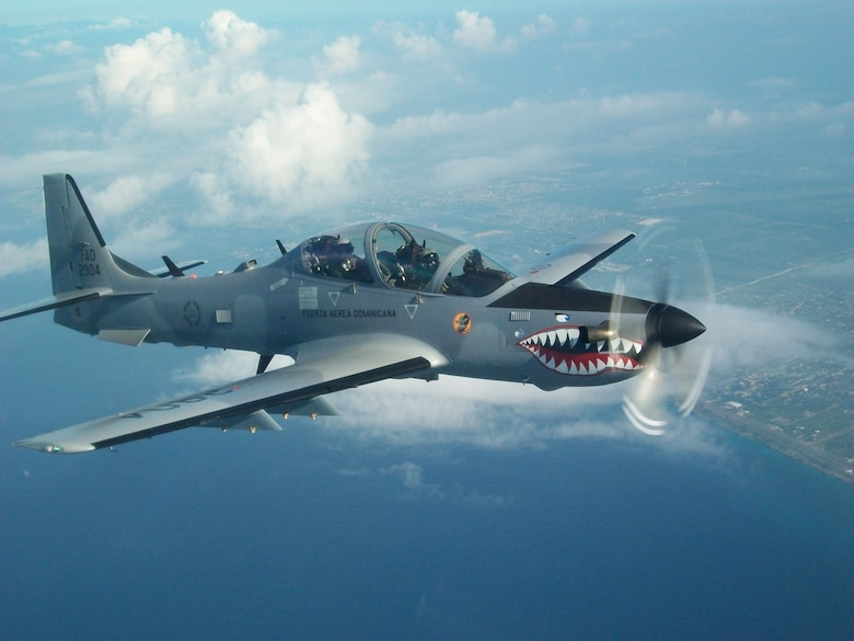 A-29B Super Tucano on Patrol over the skies of the Dominican Republic.  (Photo courtesy of Lt. Col. Jonas Reynoso)