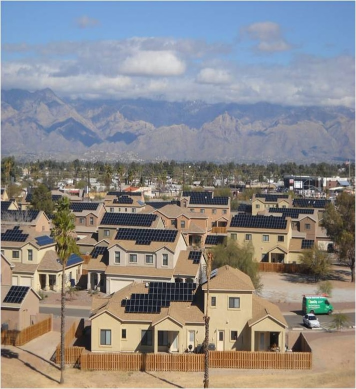 Aerial view of Soaring Heights Communities, Davis-Monthan Air Force Base's privatized housing.