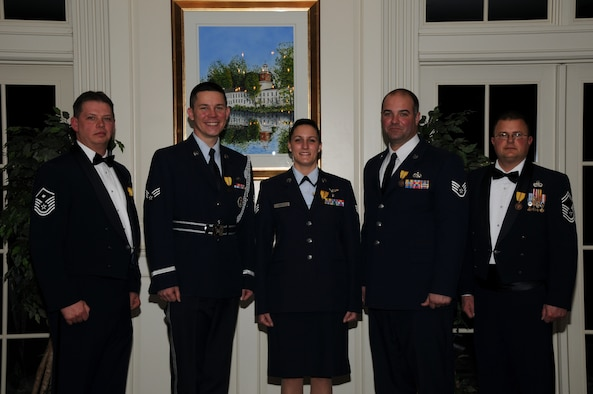 Delaware Air National Guard 2010 Outstanding Airmen of the Year at the Enlisted Recognition Banquet held Feb. 5, 2011 at the Deerfield Golf and Tennis Club, Newark, Del. L to R: Outstanding First Sergeant of the Year 2010: Master Sergeant Steve Stinsky, first sergeant, 166th Mission Support Group; Outstanding Honor Guard Member of the Year 2010: Senior Airman Joseph O'Leary, knowledge management officer, 166th Communication Flight; Outstanding Airman of the Year 2010: Senior Airman Victoria Arnold, aerospace medical technician, 142nd Aeromedical Evacuation Squadron; Outstanding Noncommissioned Officer (NCO) of the Year 2010: Staff Sergeant Kim Carter, cyber system surety specialist, 166th Communication Flight; Outstanding Senior Noncommissioned Officer (Senior NCO) of the Year 2010: Senior Master Sergeant Todd Dugar, aerospace propulsion superintendent, 166th Maintenance Squadron.(U.S. Air Force photo/Tech. Sgt. Tom Casey)