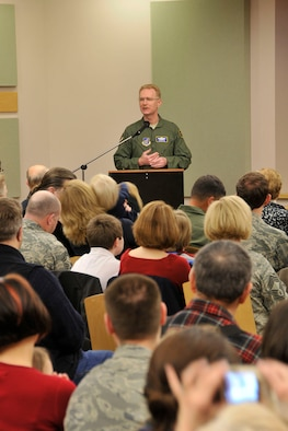 KULIS AIR NATIONAL GUARD BASE, Alaska - Brig. Gen. Charles E. Foster, Commander of the 176th Wing addresses Wing members, Alaska Air National Guard retirees, and the families of Wing members during the Wing?s Fly-Away Ceremony, Feb. 12, 2011. Aircraft from the Wing were flown from Kulis to Joint Base Elmendorf-Richardson during a ceremonial flight. The 176th Wing is relocating from Kulis to JBER per the 2005 Defense Base Closure and Realignment proposal.  Alaska Air National Guard photo by Staff Sgt. N. Alicia Goldberger.