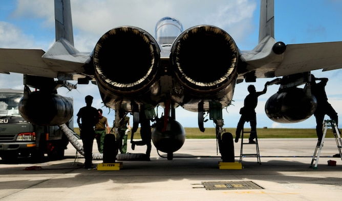 ANDERSEN AIR FORCE BASE, Guam - Japan Air Self-Defense Force maintainers perform post-flight maintenance  on  an F-15 Eagle after its arrival here Feb. 11, for the exercise Cope North 11-1. Cope North is a bilateral flying exercise between the U.S. Air Force, U.S. Navy and JASDF, improving interoperability between the two nations through two weeks of aerial scenarios. (U.S. Air Force photo/ Airman 1st Class Jeffrey Schultze)