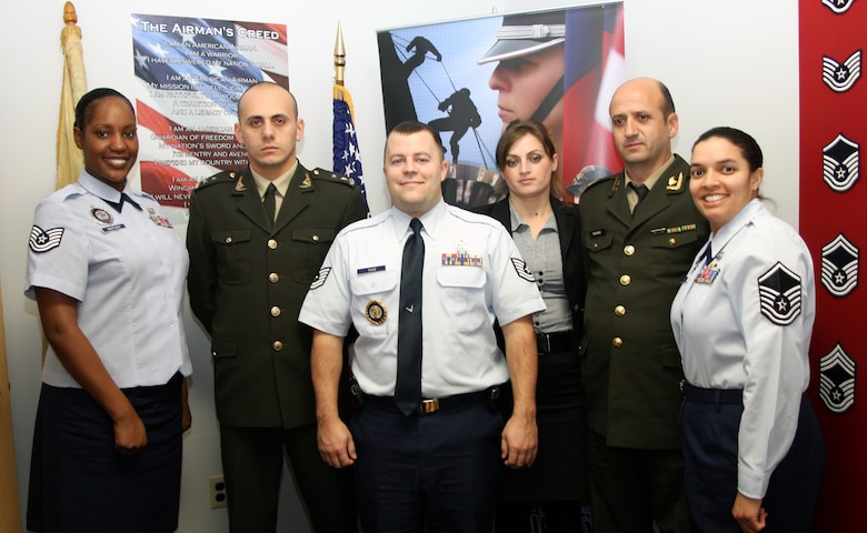 Members of the Albanian military recruiting team pose for a photo with recruiters from the 108th Wing at Joint Base McGuire-Dix-Lakehurst, N.J., Jan. 26. From left to right are Tech. Sgt. Lakisha Santiago, 1st Lt. Eugert Hoxha, Tech. Sgt. Chris Shaw, Ms. Marsela Sinjari, Maj. Roland Dura, and Master Sgt. Rebecca Kane. (U.S. Air Force photo by Staff Sft. Armando Vasquez, NJDMAVA/PA)