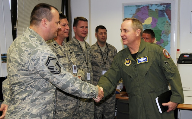 RAMSTEIN AIR BASE, Germany - Gen. Mark A. Welsh III (right), U.S. Air Forces in