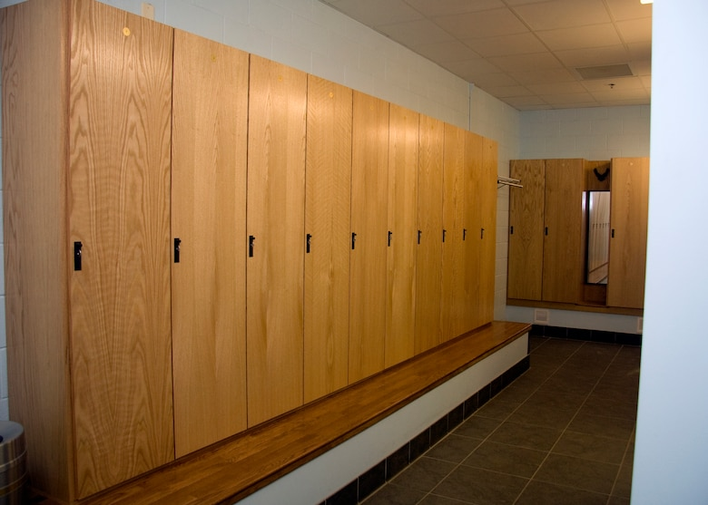 GRISSOM AIR RESERVE BASE, Ind. -- New wooden lockers were recently installed in the female locker room at the base fitness center. The new lockers, which were also installed in the male locker room, provide double the storage space to the user and replaced aging metal lockers that were originally installed when the facility was a child development center. (U.S. Air Force photo/Tech. Sgt. Mark R. W. Orders-Woempner)