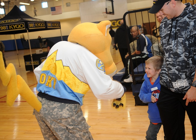 Buckley Air Force Base, Colo.-  Denver Nuggets mascot, Rocky, greets military members and family February 17, 2011. The local radio station, 98.5 KYGO hosted the military appreciation event.( U.S. Air Force Photo by Airman 1st Class Marcy Glass )