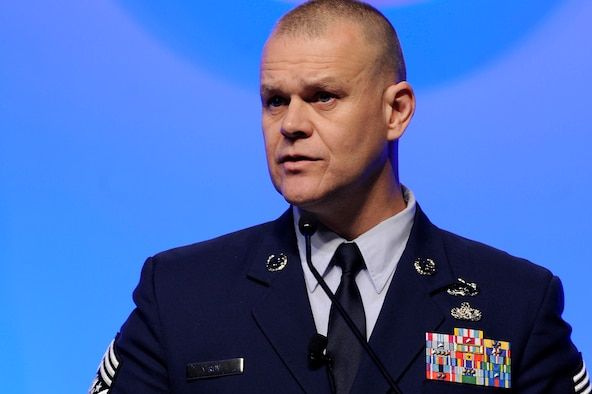Chief Master Sgt. of the Air Force James Roy speaks Feb. 17, 2011, in Orlando, Fla., during the Air Force Association's 2011 Air Warfare Symposium and Technologies Exposition. Chief Roy spoke about building resiliency in Airmen and their families. (U.S. Air Force photo/Scott M. Ash)