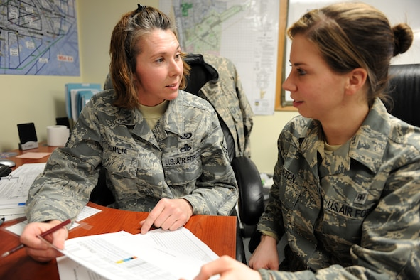 KUNSAN AIR BASE, Republic of Korea -- Master Sgt. Kristie Pomilia, 134th Expeditionary Fighter Squadron member, reviews a flying schedule with Senior Airman Crystalin Horton, also of the 134th EFS here Feb. 22. Ensuring all pilots are up-to-date on their flying hours is essential to the unit's mission here. (U.S. Air Force photo/Tech. Sgt. Jonathan Pomeroy)