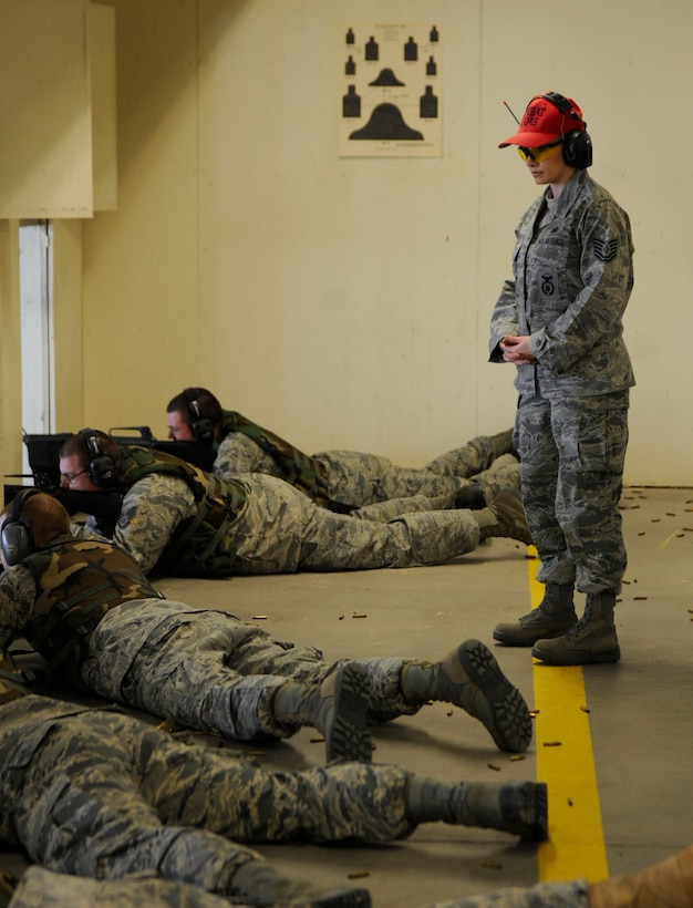 MOUNTAIN HOME AIR FORCE BASE, Idaho -- Tech. Sgt. Terry VanDam, 366th Security Forces Squadron combat arms instructor, ensures the safety of students during the Unit Compliance Inspection Feb. 15. (U.S. Air Force photo by Airman 1st Class Renishia Richardson)