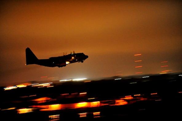 An AC-130U Spooky gunship takes off January 31, 2011, from Hurlburt Field, Fla. (U.S. Air Force photo/Staff Sgt. Jonathan Lovelady)