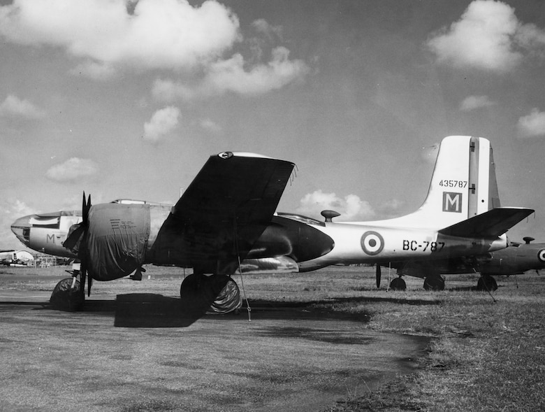 From 1950-1954, the USAF loaned transport and attack aircraft to the French air force in Indochina. The USAF also sent about 200 aircraft mechanics to help maintain them. This aircraft is in French markings. (U.S. Air Force photo)