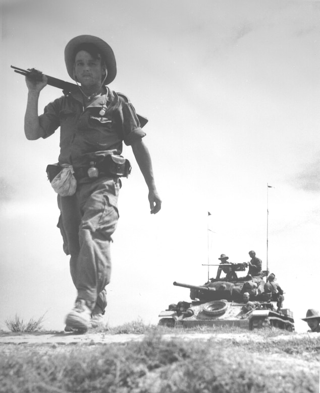 French Legionnaire with US-provided tank, 1954. (U.S. Air Force photo)