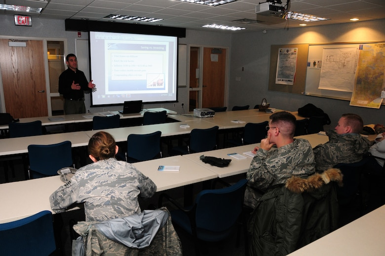 Financial Advisor Aaron Putman speaks to 148th Fighter Wing members during a financial seminar in Duluth Minn. Feb. 26, 2011.  The 148th FW Airman and Family Readiness Office organized the seminar.  (U.S. Air Force photo by Staff Sgt. Donald Acton/released)