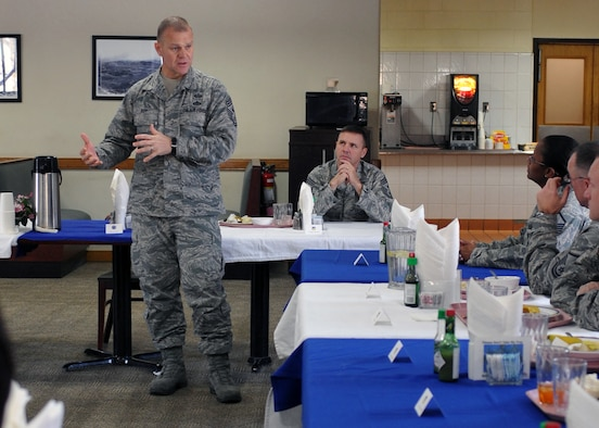 Chief Master Sgt. of the Air Force James Roy addresses 51st Fighter Wing Airmen, Dec. 31, 2010, at Osan Air Base, South Korea. Chief Roy discussed issues regarding enlisted perspective and key issues across the Air Force. (U.S. Air Force photo/Senior Airman Evelyn Chavez)