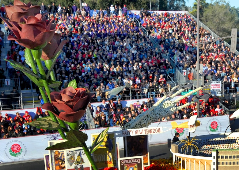A float features Air Force B-2, F-117, and F-22 participates in the 122nd annual Tournament of Roses parade Jan. 1, 2011. (Photo by Joe Juarez)