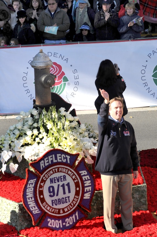A float features a fire hydrant recovered from the Sept. 11, 2001, terrorist attack rubble during the Tournament of Roses parade Jan. 1, 2011. (Photo by Joe Juarez)