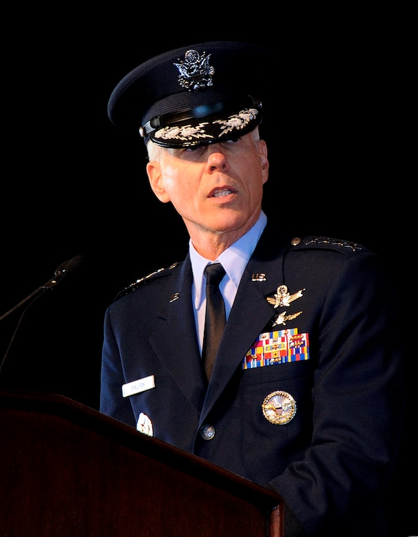 """Gen. William L. Shelton, Commander, Air Force Space Command, addresses those present during the AFSPC change of command at Peterson Air Force Base. Upon acceptance of command General Shelton said, """"I've been in and out of AFSPC since 1986, so to have the good fortune to come back to command this great organization is truly a special privilege.""""He has become the 15th commander of AFSPC Jan. 5. (Air Force photo/Duncan Wood)"""