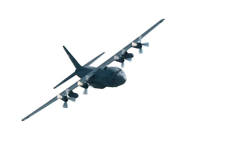 A St. Joseph Missouri, 139th Airlift Wing, Mo. Air National Guard C-130 flying.
