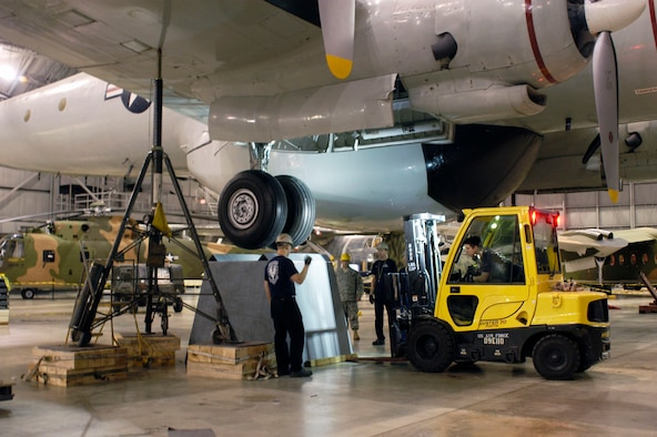 DAYTON, Ohio (01/2011) -- Restoration crews move the EC-121D onto pylons in the Southeast Asia War Gallery at the National Museum of the U.S. Air Force. (U.S. Air Force photo)