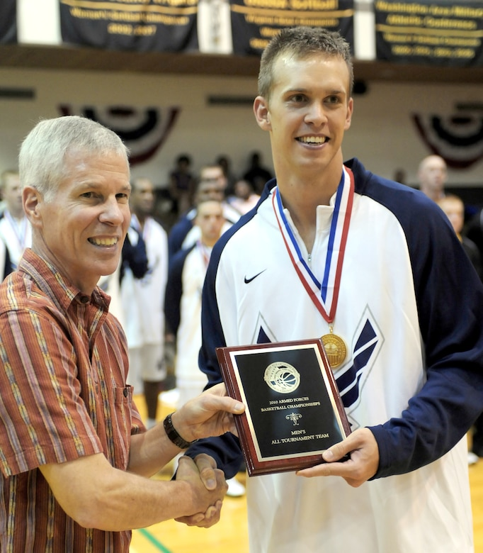 Second Lt. Matthew Holland was named most valuable player after leading Team USA to the 2010 SHAPE International Men's Basketball Championship Nov. 29 through Dec. 4, 2010, in Mons, Belgium. (U.S. Army photo/Tim Hipps)