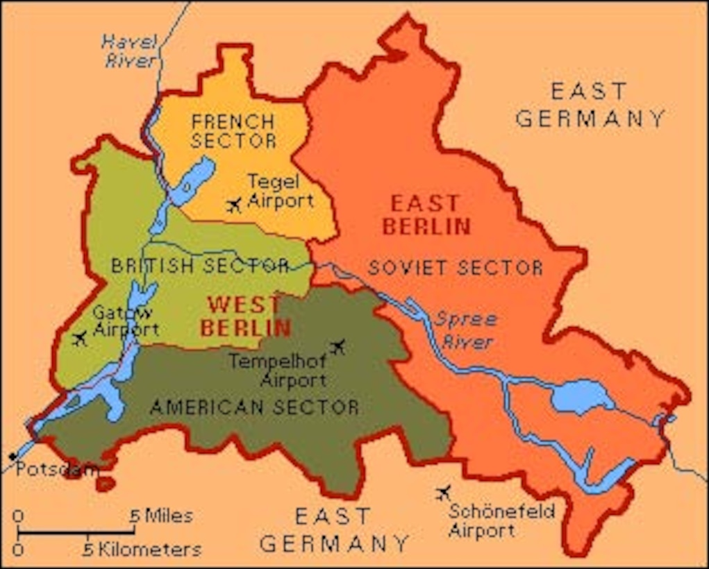 Map of Berlin divided into sectors or zones; after WWII and ...