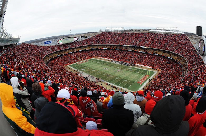 """KANSAS CITY, Mo. - An overall view of Arrowhead Stadium showing the """"Sea of Red"""" Jan.9. The Kansas City Chiefs took on the Baltimore Ravens in the opening round of the National Football League playoffs. The Ravens beat the Chiefs 30-7. (U.S. Air Force photo by Senior Airman Carlin Leslie)"""