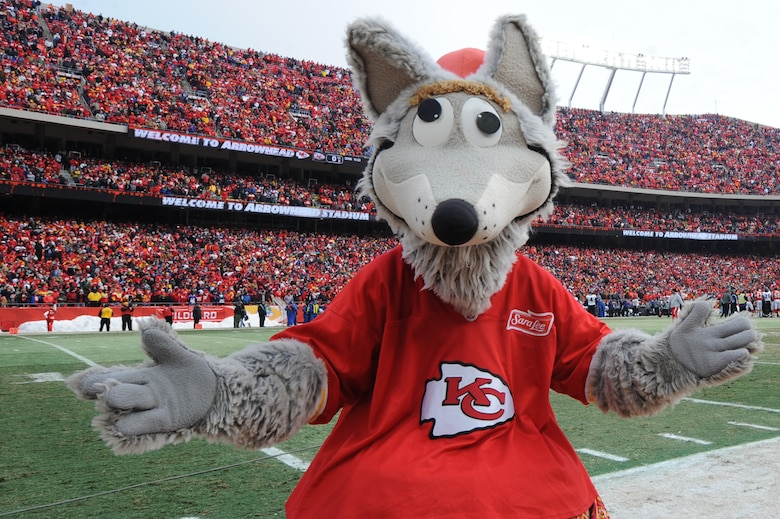 KANSAS CITY, Mo. - KC Wolf, the official mascot of the Kansas City Chiefs, ramps up fans before opening kick-off of the Chief's Wild Card game against the Baltimore Ravens Jan 9. (U.S. Air Force photo by Senior Airman Carlin Leslie)