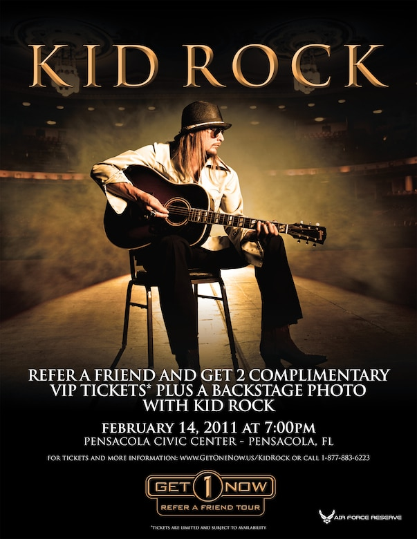 Get 1 Now program offers two free tickets to see Kid Rock's performance at the Pensacola Civic Center, Pensacola, Fla., Feb. 14.