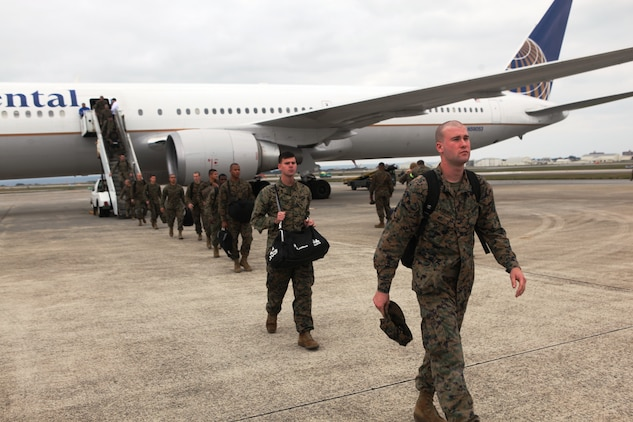 Marines of 2nd Battalion, 5th Marine Regiment, arrive from Camp Pendleton, Calif. for deployment with the 31st Marine Expeditionary Unit as the new Battalion Landing Team, Jan. 10.  The battalion has now become the ground combat element of the 31st MEU, and is scheduled to embark aboard ships of Amphibious Squadron 11 for support of Theater Security Cooperation in the Asia-Pacific region.