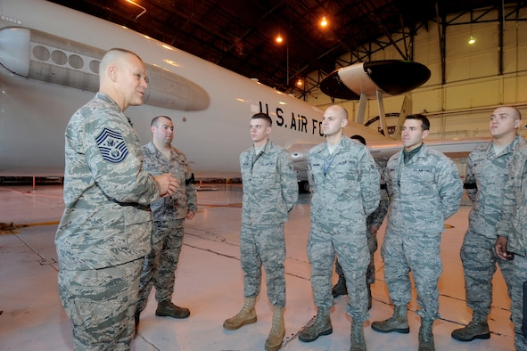 Chief Master Sgt. of the Air Force James A. Roy speaks with Airmen from the 552nd Air Control Wing Jan. 6, 2011, at Tinker Air Force Base, Okla. (U.S. Air Force photo/Dave Faytinger)