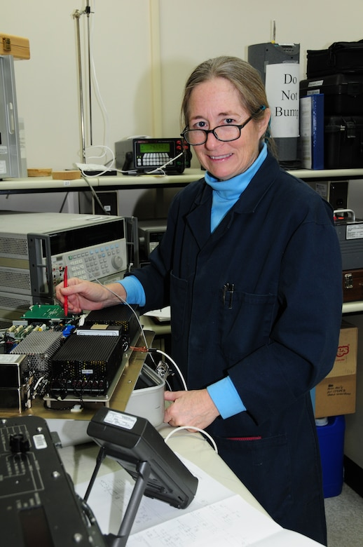 Kathy McConaghie troubleshoots an engine test set while working in the DC/Low Frequency area.  Ms. McConaghie is a civilian employee for the Precision Measurement Equipment Laboratory, 148th Fighter Wing, Duluth, Minn.  (U.S. Air Force photo by Master Sgt. Ralph J. Kapustka)  (Released)
