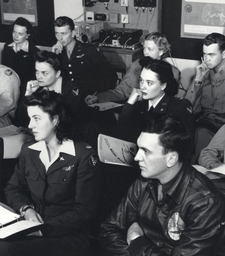 WASPs in classroom, Romulus Army Airfield, Michigan, 1944.