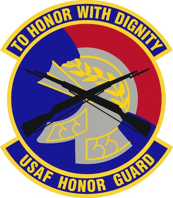 "Dating back to 1976, the emblem of The U.S. Air Force Honor Guard is composed of crossed M-1 rifles silhouetted over a gold and silver Roman helmet. The emblem is complete with a scarlet red horsehair festoon on a field of ultramarine blue with the attached organization motto. The color for the lettering of the organizational motto is gold. The Roman helmet is symbolic of the Praetorian Guard of the Roman Empire. This elite unit was charged with protecting emperors. The red festoon denotes courage and valor. The silver gray of the helmet proper is represents the excellence expected of U.S. Air Force Honor Guard personnel. The crossed rifles denote The U.S. Air Force Honor Guard's primary weapon. The ultramarine blue background symbolizes the primary theater of Air Force operations - the sky and beyond. The attached motto, ""To Honor With Dignity"" best describes the elite mission of The U.S. Air Force Honor Guard."