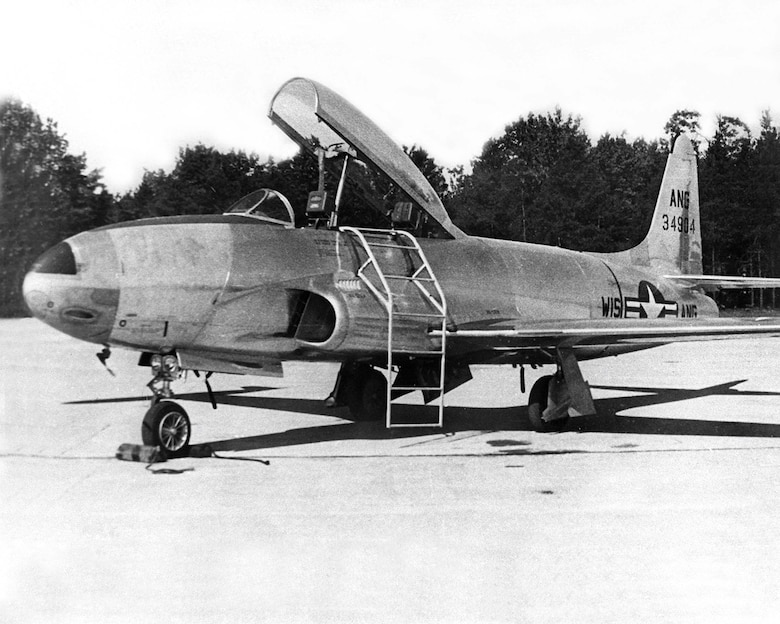 "T-33 ""T-Bird"" jet trainer. Operated from 1953-1962. Essentially a two-seat version of the P-80 ""Shooting Star"" interceptor."