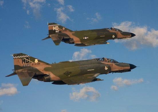 The QF-4, typically used as a aerial target drone in Combat Archer missions, was given a new mission late last year called banner tow.  The aircraft pulls a long banner in the air while other aircraft use it in aerial gunnery training.  The only F-4s still actively used in the Air Force fall under the 53rd Wing and are located at Tyndall Air Force Base, Fla, and Holloman Air Force Base, N.M.  (Courtesy photo/Jake Melampy)