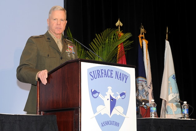 Gen. James Amos, commandant of the Marine Corps, speaks at the Surface Navy Association Symposium Jan. 13, 2011. Amos discussed the relevance of the Corps as America's expeditionary force in readiness and noted the Marine Corps success during combat operations in Iraq and Afghanistan as well as crisis response around the globe.