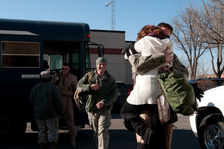 Members of the 139th Airlift Wing, MO. Air National Guard,  return from a deployment on January 5, 2011. (U.S. Air Force photo by Master Sgt. Shannon Bond)