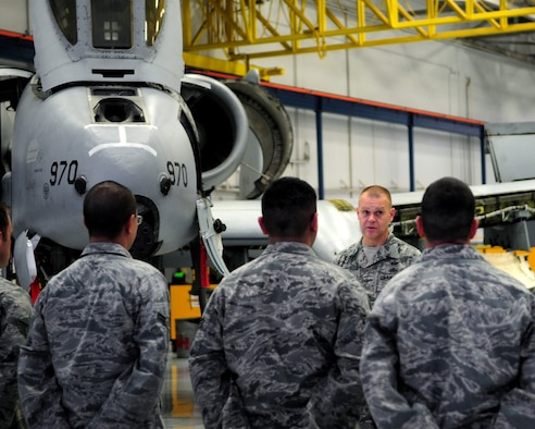 DAVIS-MONTHAN AIR FORCE BASE, Ariz. - Chief Master Sgt. of the Air Force James Roy speaks to Airmen from the 355th Aircraft Maintenance Squadron at the A-10 Phase hangar here Jan. 12. Chief Roy spoke of the challenges facing our Air Force today. (U.S. Air Force photo/Airman 1st Class Jerilyn Quintanilla)