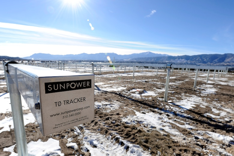 The sun shines over a construction site for a 6-MW solar array at the Air Force Academy Jan. 11, 2011. The $18.3-million project is funded by the American Recovery and Restoration Act of 2009 and is projected to save the Academy $1 million per year over the array's 25-year lifespan. It is scheduled to be complete in July. (U.S. Air Force photo/Mike Kaplan)