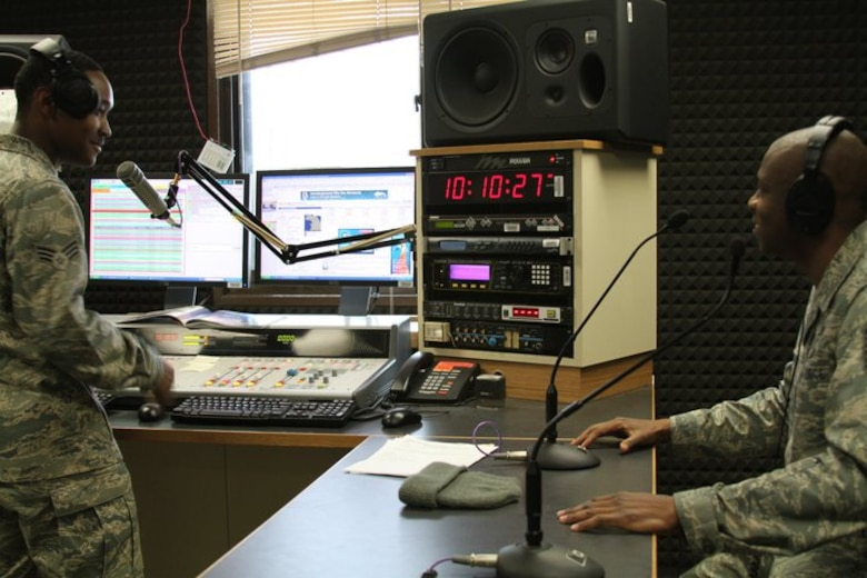 "Master Sgt. Kevin Hardman, 51st Fighter Wing Safety, spins a few tunes as the first ""Lunch Box DJ"" with Senior Airman Mike Watts, Armed Forces Network Osan disc jockey, Jan. 7. AFN introduced the new program last week to give supervisors a chance to recognize their Airmen by having them co-host their afternoon radio show. Supervisors can email lunchboxdj@afn.dma.mil and AFN will announce the week's lunchbox DJ on Wednesday at 11 a.m. The selected Airman will be on that Friday's afternoon Weekday Rewind program as a guest DJ from 11 a.m to 1 p.m. playing 1980's and 90's music for the Osan and U.S. Army Garrison Humphreys communities. (Courtesy photo)"