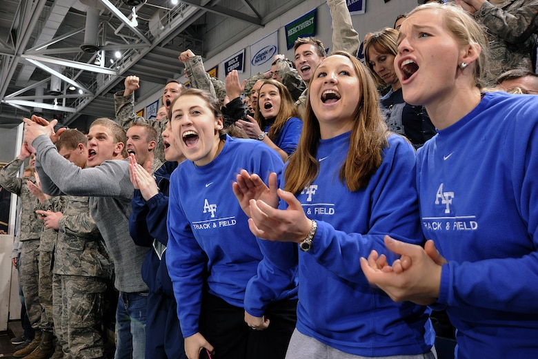 Air Force Academy cadets cheer for their Falcons hockey team during a match against Army at the Cadet Ice Arena Jan. 15, 2011. The crowd of 3,019 was the second-largest of Air Force's season. Air Force and Army split the series, with the Falcons winning, 5-1, Jan. 14 and losing, 5-4, Jan. 15. (U.S. Air Force photo/Mike Kaplan)