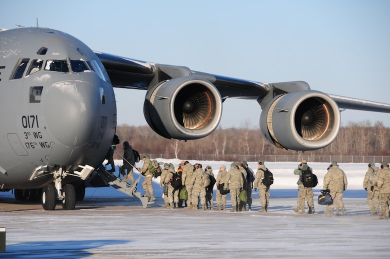 Members of the 148th Fighter Wing, board a C-17 bound for Tyndall Air Force Base, FL. from Duluth Minn. to participate in training exercise Combat Archer January 22, 2010.  Combat Archer will be the first operational test of the new Block 50 F-16 Falcons.  (U.S. Air Force photo by Staff Sgt. Donald Acton/released)