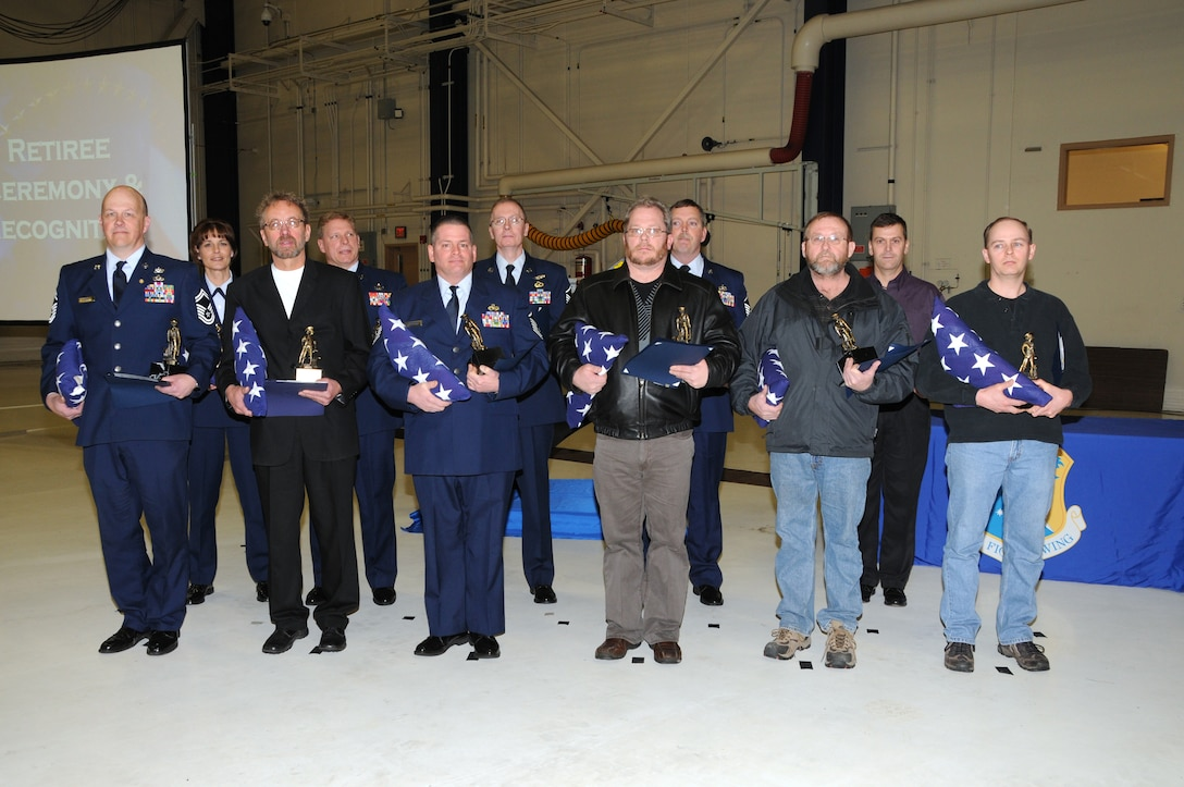 Recent retirees from the 148th Fighter Wing were honored during an awards and retirement ceremony in Duluth Minn. January 23, 2010.  Retirees have more than 20 years of military service. (U.S. Air Force photo by Staff Sgt. Donald Acton/released)