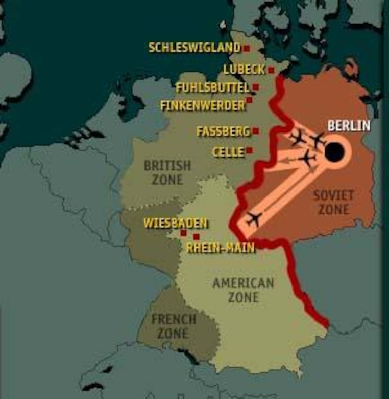 Map of occupation zones and air corridors during  Berlin Airlift.