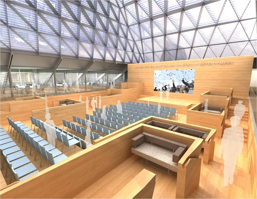 An artist's rendering of the U.S. Air Force Academy's new Center for Character and Leadership Development. The design is in keeping with that of the iconic academy chapel. Courtesy graphic