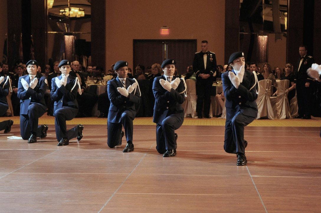 Members of the Louis D. Brandeis High School Air Force JROTC unarmed drill team, The Blue Aces, perform during the 2011 AETC Ball. Photo by Don Lindsey.