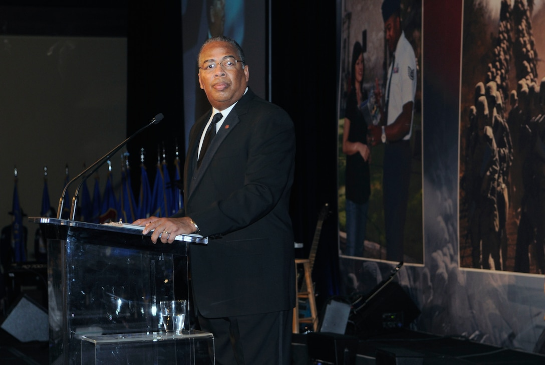 Lt. Gen. John D. Hopper, emcee for the 2011 AETC ball, prepares to introduce Secretary of the Air Force Michael Donley. Photo by Don Lindsey.