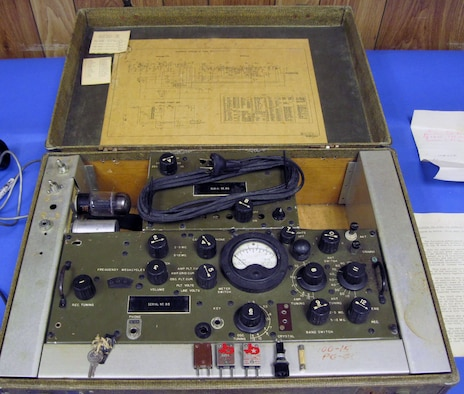 Originally designed for use by Army Intelligence, some of these radios were used by the Office of Strategic Services. The radio is concealed in a suitcase. (U.S. Air Force photo)