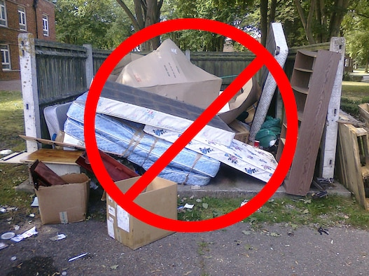 ROYAL AIR FORCE FELTWELL, England -- Dumping household items, such as mattresses, furniture, or unwanted electronics, is prohibited on Department of Defense installations and increases costs for garbage removal. Such items must be taken to a household waste collection point, such as those at Elveden or Thetford, for proper disposal. (Photo illustration by Senior Airman David Dobrydney)